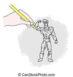 Draw strong man - Creative design of draw strong man