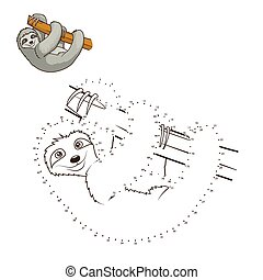 Draw the animal bull educational game vector illustration