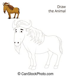 Draw the animal educational game  wildebeest