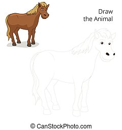 Draw the animal horse educational game cartoon colorful...