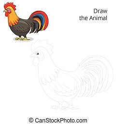 Draw the animal rooster educational game colorful cartoon...
