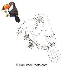 Draw the animal toucan educational game vector illustration