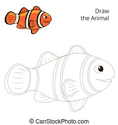 Draw the fish animal clownfish educational game