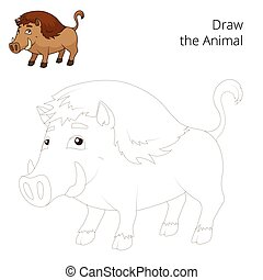 Draw the forest animal boar cartoon vector - Draw the forest...