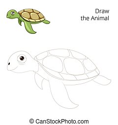Draw the sea animal turtle educational game vector...