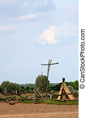 Digital photo of a draw well in the wasteland of hungary called puszta. Many tourists visit this place.