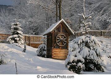 draw-well, in, vintern trädgård