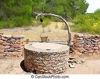 Draw well traditional mediterranean masonry in balearic...