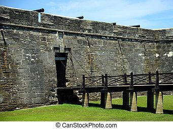 Drawbridge and cannons at Castillo de San Marcos fort