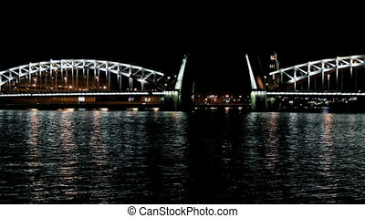 Drawbridge - A night view of the drawbridge of Peter the...