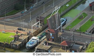 Drawbridge opening for a ship - Drawbridge opening on a...