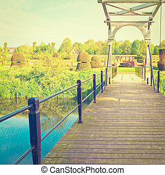 Drawbridge over Canal in the Park, Netherlands, Instagram Effect