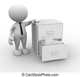 Drawer - 3d people - man, person and open drawer with white...