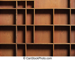 drawer wooden compartments empty, close up