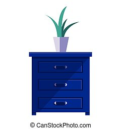 drawer wooden with houseplant vector illustration design