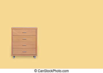 Drawers isolated on yellow background and space for copy.