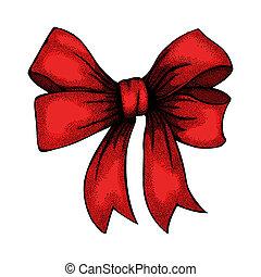 drawin, wstążka, wiązany, bow., freehand
