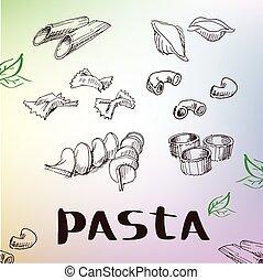 drawing., イタリア語, セット, パスタ, 手