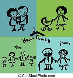 drawing., 幸せな家族, 手