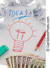 drawing., 符號, bulb., 想法, 事件