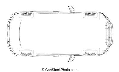 drawing., 自動車, ベクトル, アウトライン