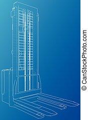 drawing., 追跡, 抽象的, イラスト, 小さい, forklift., 倉庫, 3d