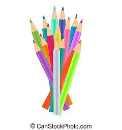 drawing., 鉛筆, 明るい, セット, 有色人種