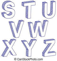 drawing 3D letter S-Z