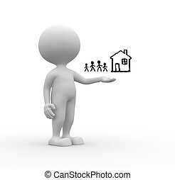 3d people - man, person pointing a drawing - a family and a house