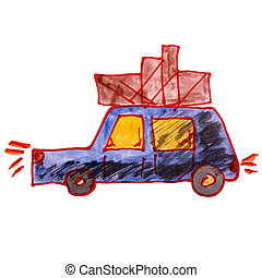drawing a children watercolor car cargo cartoon on white backg