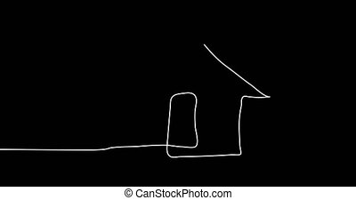 Drawing a continuous line of the house. 4k set animation...