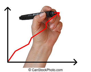 drawing a graph - Business woman  drawing a graph