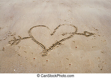 drawing a heart in the sand on beach