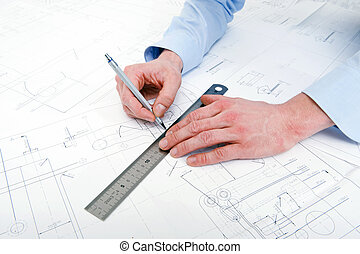 Drawing a line - Engineer, drawing a line with a refillable...