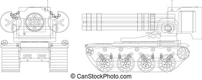 Drawing a self-propelled heavy machine gun - vector illustration eps8