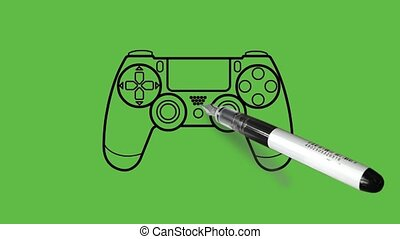 Drawing a video game remote in black, pink, yellow and grey colour combination on abstract green background