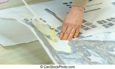 drawing a winter landscape with masking tape