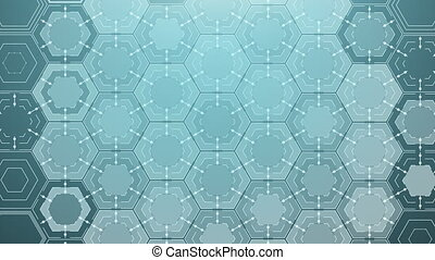Drawing Abstract Hexagons, Beautiful 3d animation. with a...