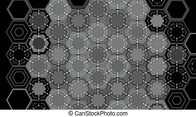 Drawing Abstract Hexagons on a Black Background, Beautiful...
