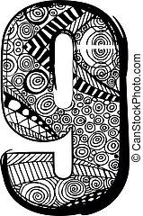 drawing., abstrakcyjny, wektor, liczba, ilustracja