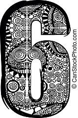 drawing., abstrakt, zahl, abbildung, vektor, 6