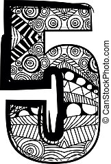 drawing., abstratos, número, ilustração, vetorial, 5