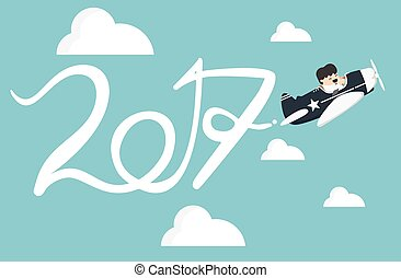 Drawing Airplane in the sky, new Year concept Flat vector clip art.
