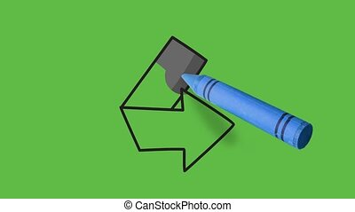 Drawing an black arrow on right direction on green background