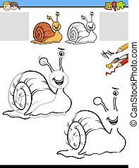 drawing and coloring activity with snail