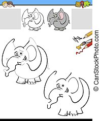 drawing and coloring worksheet with elephant