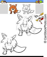 drawing and coloring worksheet with fox animal