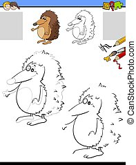 drawing and coloring worksheet with hedgehog animal
