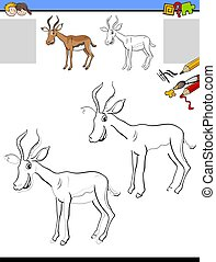 drawing and coloring worksheet with impala animal