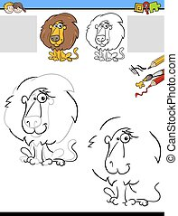 drawing and coloring worksheet with lion